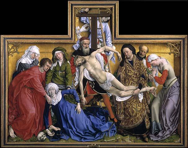 «El Descendimiento», de Rogier van der Weyden (antes de 1433). Óleo sobre tabla de roble. Museo del Prado. Depósito de Patrimonio Nacional.
